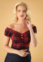 50s Dolores Rebel Check Top in Black and Red