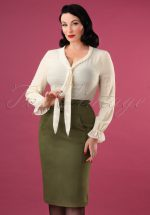 40s Martha Pencil Skirt in Olive