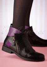 60s Allison Bright Leather Chelsea Boots in Black