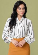 40s Gwen Striped Blouse in White and Black