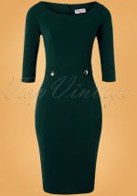 50s Laurel Pencil Dress in Forest Green