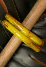TopVintage Exclusive ~ 40s Catkin Narrow Carved Bangle Set in Yellow