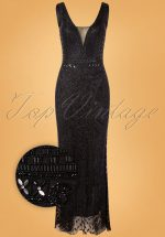 20s Grace Embellished Maxi Dress in Black