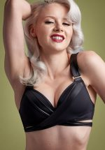 50s Cache Coeur Push Up Bikini Top in Black