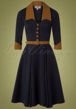 50s Aroma Lee Swing Dress in Navy and Brown