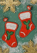 50s Christmas Stocking Earrings in Red
