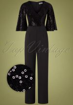 70s Courtney Sequin Jumpsuit in Black