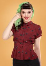 40s Mary Grace Polka Meow Blouse in Wine