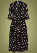 40s Elisa Polkadot Swing Dress in Black