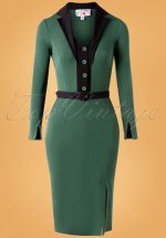 50s Fayre Gia Suit Wiggle Pencil Dress in Emerald