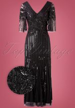 20s Norma Sequin Maxi Dress in Black