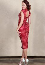 50s Love Polkadot Bow Pencil Dress in Red