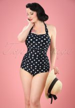 50s Classic Polkadot One Piece Swimsuit in Black and White