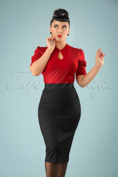 50s Fiona Pencil Skirt in Black
