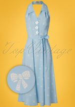 40s Elizabeth Halterneck Dress in Sky Blue