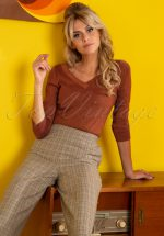 50s Double V Neck Top in Sandelwood Brown