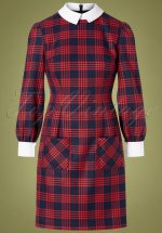 60s Kamila Plaid Dress in Navy and Red