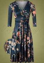 50s Caryl Floral Swing Dress in Petrol Blue
