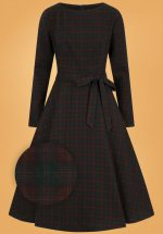 40s Arwen Woodland Pine Check Swing Dress in Brown