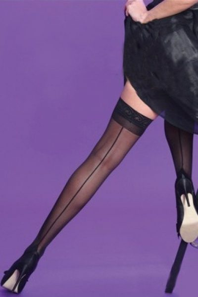 Classic Seamer Lace top Hold Ups in Black