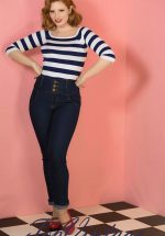50s Rebel Kate High Waist Denim Pants in Blue