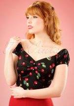 50s Dolores Cherry Top Carmen in Black