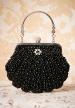20s Eleanor Beaded Handbag in Black