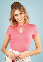50s Mandarin Collar Top in Pink