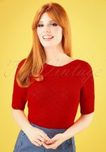 50s Audrey Heart Ajour Top in Lipstick Red