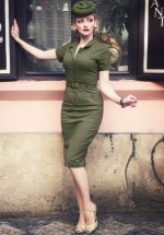 50s Caterina Pencil Dress in Olive Green