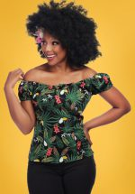 50s Lorena Tropicalia Top in Black