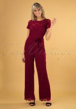 50s Betty Damask Jumpsuit in Cherise Red
