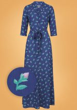 40s Luisa Rose Bud Maxi Dress in Blue