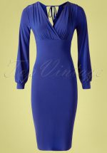 50s Genesis Bodycon Dress in Royal Blue