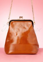 50s Henriette Gold Framed Bag in Cognac