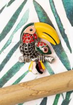 50s Tucan Brooch in Black and Yellow