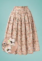 50s Fresh Bloom Swing Skirt in Nude