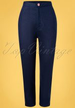 50s Diner Days Trousers in Dark Blue