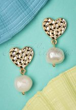 50s Love For Pearl Earrings in Gold