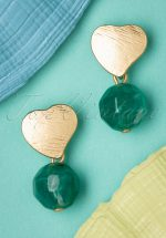 50s Love Rocks Marble Earrings in Gold
