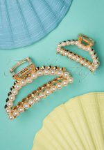 Pearly Hair Clip Set in Gold
