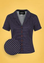 50s Caterina Mini Polka Dot Shirt in Navy