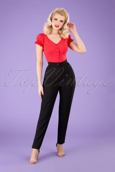 50s Louise Cigarette Trousers in Black