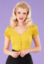50s Sofia Gypsy Top in Yellow