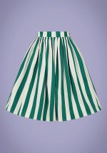 50s Jasmine Glade Stripe Swing Skirt in Green and Ivory