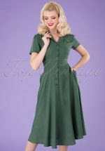 40s Gayle Plain Swing Dress in Green