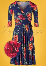 50s Caryl Floral Swing Dress in Navy