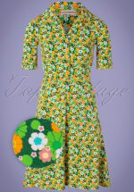 60s Monica Krasse Dress in Yellow and Green