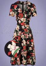 40s Hollywood Portobello Roses Circle Dress in Black