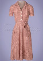 40s Rumba Revers Midi Dress in Dusty Pink